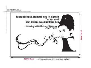 AUDREY HEPBURN & Quote Vinyl Wall Art Decal Stickers **