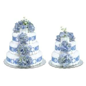 Blue Hydrangeas w/Blue Circles Trim Diaper Cake Baby
