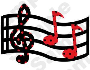 MUSIC MUSICAL NOTES RED WALL BORDER STICKERS DECALS