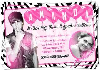 Justin Bieber Zebra Pink Birthday Party Invitation   Printable