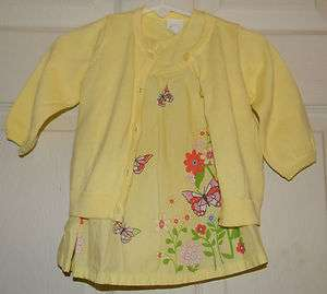 YELLOW FLORAL BUTTERFLY 3 PC WITH SWEATER SET GIRLS EURO 62 2 4 MONTHS