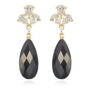 Long Pear Black CZ Drop Earring In Gold Plating CHELINE