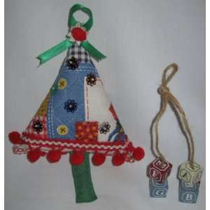 Christmas Ornaments Set Wood Blocks & Quilted Tree