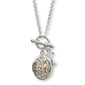 Silver Tone Yellow Crystal Cross Locket 24 Necklace