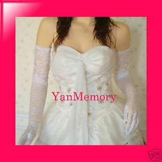 Lace White Fancy Dress Long Gloves Dance Prom Show Ball