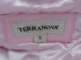 NEW~BABY PINK LEATHER MOTORCYCLE MOTO LADIES JACKET SILVER ZIPPER