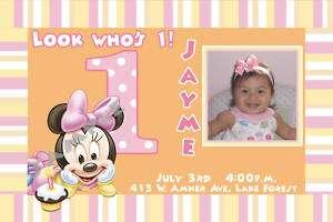 Minnie Mouse 1st Birthday Invitations+FREE THANK U CARD