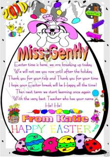 TEACHER HAPPY EASTER THANK YOU CARD / GIFT Laminated
