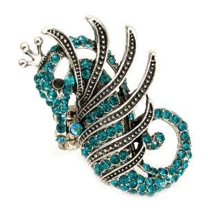 Equisite XX Large Blue Seahorse Fashion Ring on Stretch Band