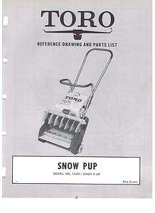 SNOW PUP PARTS LIST MANUAL SNOW BLOWER AH 52 3HP 2 CYCLE ENGINE
