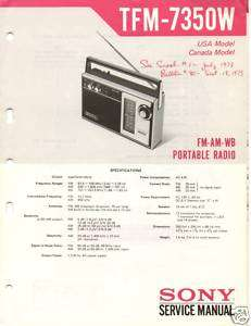 Original Sony Service Manual TFM 7350W Radio