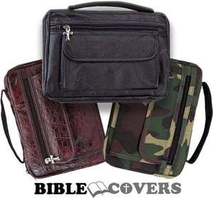 Bible Cover Book Case Tote Leather Bag Brown/Black/Camo Camoflauge