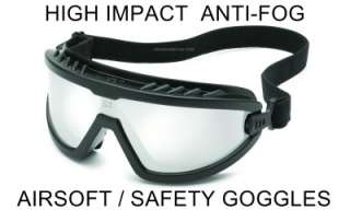 SILVER MIRRORED High Impact No Fog AIRSOFT EYE GOGGLES