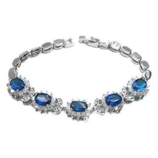 JEWELRY OVAL CUT BLUE SAPPHIRE WHITE GOLD GP TENNIS BRACELET