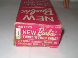 Vtg 1966 Twist N Turn TNT BARBIE Doll w Original Box DK Brown Great