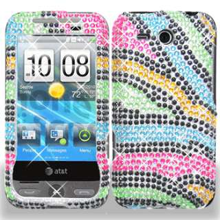 RAINBOW ZEBRA BLING DIAMOND CASE COVER for HTC Freestyle AT&T