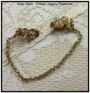 Vintage Rhinestone Bow Design & Gold Tone Sweater Clips