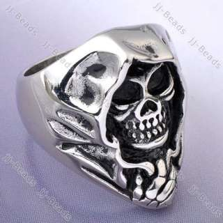 1pc Mens Punk Gothic Stainless Steel Black Ghost Skull Ring Sz11 Retro