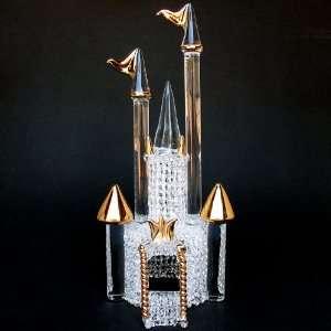 Hand Blown Glass Castle Wedding Cake Topper Gold
