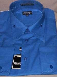 Mens Leonardi Royal Blue High Collar French Cuff Shirt