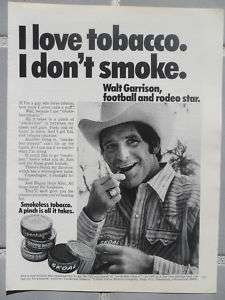 1976 Print Ad Skoal Smokeless Tobacco Walt Garrison NFL Dallas Cowboys