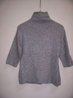 New J JILL XS Gray Wool Blend Cable Mock Tneck Sweater