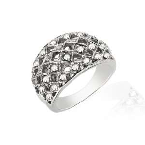 18ct White Gold Diamond Ring Size: 6.5: Jewelry