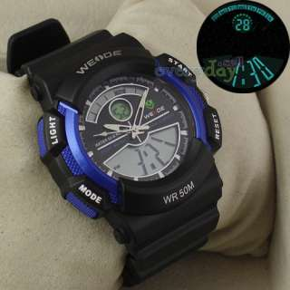 DIGITAL SPORT WATCH ALARM CHRONO BLUE & BLACK MEN BOY DIVE WRISTWATCH