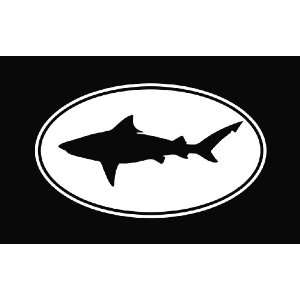 Bull Shark Oval Vinyl Die Cut Decal Sticker 6 White