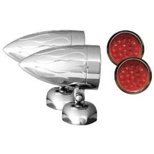 Diamond Mount Flamed Chrome Target LED Motorcycle Bullet Light   Pair