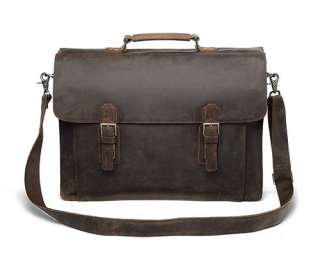 Extra Large 18 Leather Briefcase Double Gussets Messenger Bag Laptop
