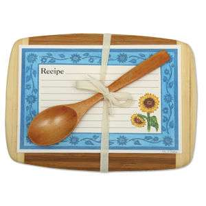 Sunflowers Gift Set Cutting Board Recipe Cards & Spoon.
