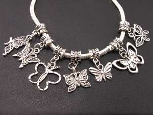 Mix 120pcs Tibetan Silver Sundry Butterfly Charms Beads Fit Bracelet