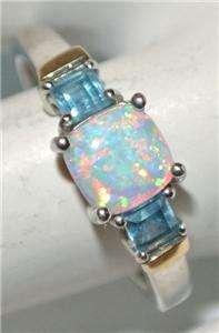 Finest STERLING Silver 14K GOLD OPAL BLUE TOPAZ RING Vintage ESTATE