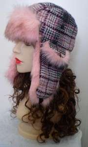 Ladies Plaid Pink Wool Winter Bomber Hat Faux Fur NEW