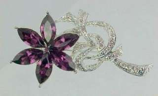 Purple Marquise Rhinestone Crystal FLOWER Brooch Pin
