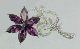 Purple Marquise Rhinestone Crystal FLOWER Brooch Pin