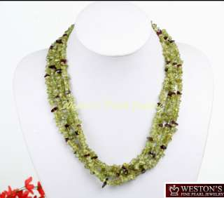 19 LONG GENUINE NATURAL GREEN PERIDOT BEAD NECKLACE