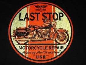 SOFTAIL MOTORCYCLE REPAIR SHOP VINTAGE LOOK LAST STOP BIKER T SHIRT