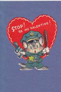 VALENTINE CARD CAT DRESSED AS COP HOLDS GUN & CLUB POLICEMAN STOP