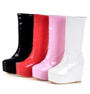 Leather Platform Flat Wedge Heel Mid Calf Boots Shoes US All Sz C305