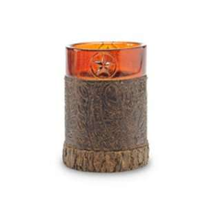 Texas STAR amber cowboy western TUMBLER cup bathroom home decor