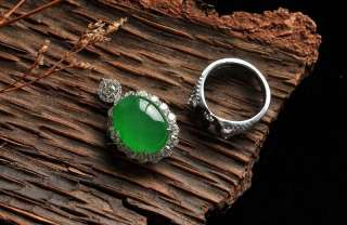 Grade A Jadeite Jade Ring and ring diamonds, 18kt. white Gold