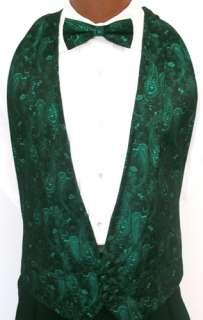 Green Sparkle Paisley Tuxedo Vest / Tie Prom Formal