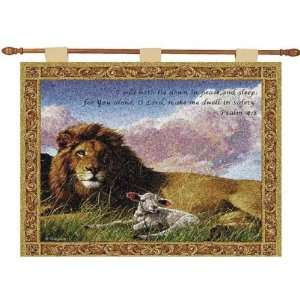 Christian Insperational LION AND LAMB Tapestry Wall