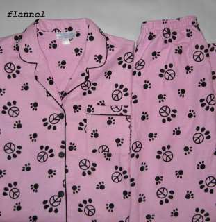 Winter Flannel Pajamas Dog Cat Paw Print Peace Sign Size S M L XL NEW