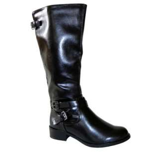 Rider Chic Buckle Motorcycle Riding Knee High Flat Boots Black AllSz