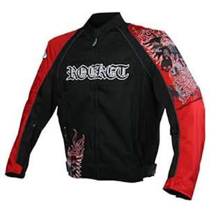JOE ROCKET RAVE MENS TEXTILE JACKET BLACK/RED 2XL