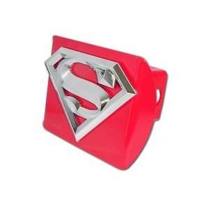 Superman Red with Chrome S 3D Emblem Trailer Hitch Cover Fits 2
