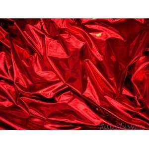 Red Metallic Spandex Lycra Fabric Per Yard Arts, Crafts
